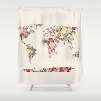 Floral World Map shower curtain - retro floral Bathroom maps, rose, beige, beautiful maps