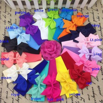 5*17cm Stretchy Nylon Headband With 3.5inch Ribbon Bows Nylon Baby Headband Girls Bow Headband Baby Headbands18pcs/lot