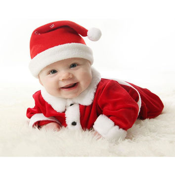 Newborn Baby Boy Girl Santa Christmas Hat Cardigan Rompers Outfit Set Costume
