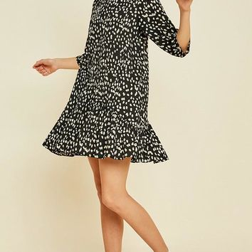 Asymmetrical Dotted Swing Dress - Black