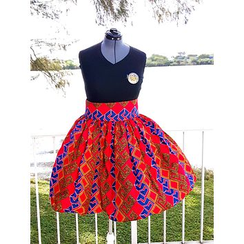 African Print Midi Flare Skirt-Red/Blue/Gold Geometric Print