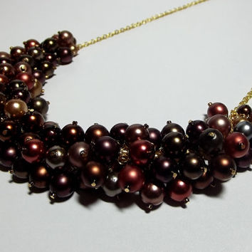 Pearl Cluster Necklace, Christmas Gifts Mom Sister Grandmother Jewelry, Brown Copper Dark Chunky Necklace, Gold