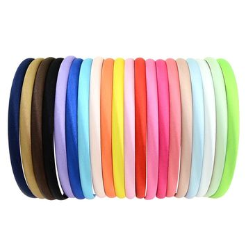 20Pcs/Lot Fashion Girls Hair Hoop Women hairband Plastic Satin Covered Headbands narrow Hair Band Accessories 754