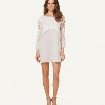 PH SOLID WHITE LACE SHORT DRESS | V i X Paula Hermanny