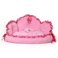 Creation Core Luxury Princess Cat Dog Kennel Warm Bed Washable Durable Bed Pet Sofa(Pink)