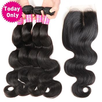 Brazilian Body Wave 3 Bundles With Closure 100% Human Hair Weave Bundles With Lace Closure Non Remy Hair Extensions