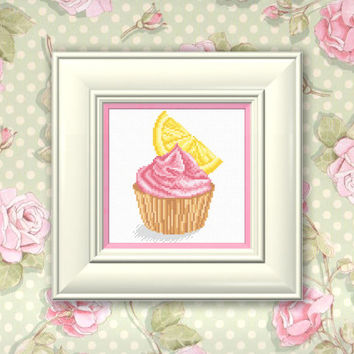 Cross Stitch Pattern PDF- Lemon cake. Pattern for embroidery, Hand Made pattern.
