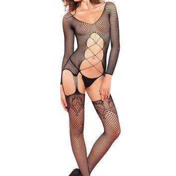 Industrial Net long sleeve suspender bodystocking in BLACK
