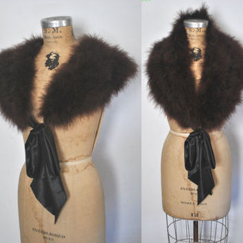 Brown Ostrich STOLE / Feather shawl / wedding or party