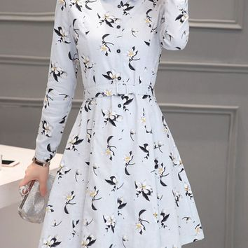 Casual Floral Printed Turn Down Collar Skater Dress
