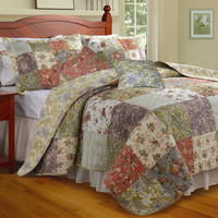 Full / Queen Size 100-percent Cotton Floral Paisley Reversible Quilt Set