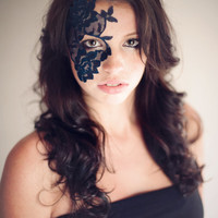 Strapless Masquerade Mask - Elegant Navy Blue Lace Women's Dramatic Venetian Eye Mask - Adheres to Skin - No Strings