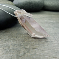 Quartz Pendant, Raw Crystal Necklace, Rough Pink Lithium, Chakra Jewelry, Contemporary Zen, Sterling Silver, Natural Stone, Feminine Chain