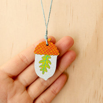 Acorn Terrarium Necklace . Oak Leaf . Hand painted Necklace