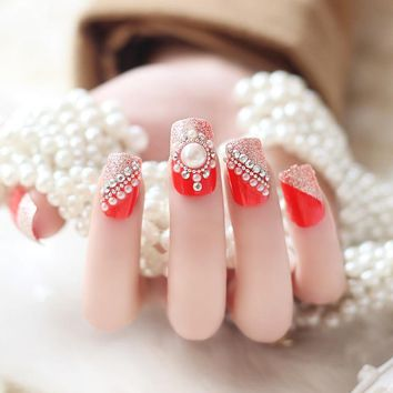 24 Pcs/Set French Bride Full Cover Red False Nails Rhinestones Crystal 3D Design Acrylic Fake Nail Tips SSwell