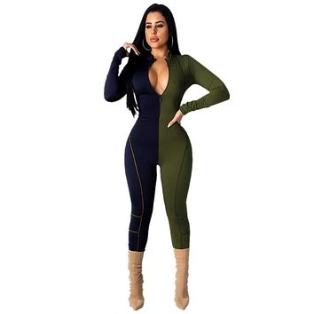 Women Fashion Sexy Color Patchwork Long Sleeve Front Zipper Jumpsuit