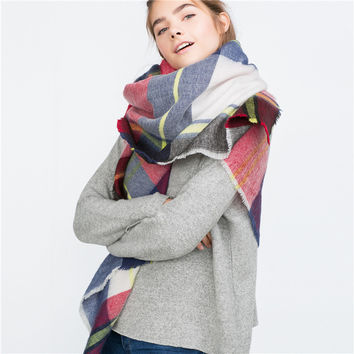 Women Warm Winter Fashion Plaid Scarf (140*140cm) [9572886415]