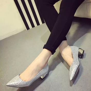 Womens Shimmery Close Toe Heels