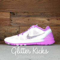 Nike Free Run TR Fit 5 Breathe By Glitter Kicks - Customized With Swarovski Crystal Rhinestones -Pink/White TR