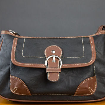 Black and Brown Leather Shoulder Bag