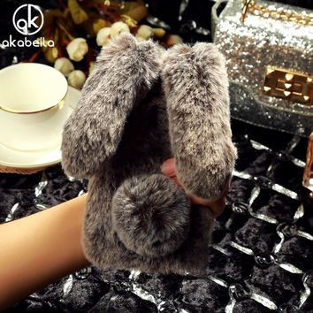 AKABEILA Fluffy Rabbit Fur Silicon Phone Cases For iPhone 8 Plus iPhone8 Plus Cover Bling Diamond Shell Fundas Housing
