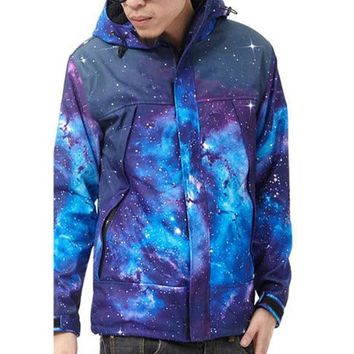 Zero Unisex Galaxy Digital Printing Thick Coat (S (US Size XS), Blue)