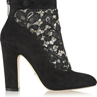 Dolce & Gabbana - Vally lace and suede ankle boots