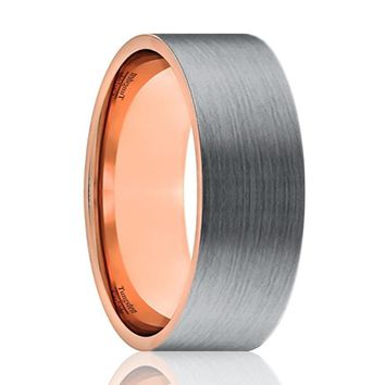 Tungsten Wedding Band - Men and Women - Comfort Fit - Flat Rose Gold & Silver Brushed Beveled Edge - Tungsten Carbide Wedding Ring - 6mm - 9mm