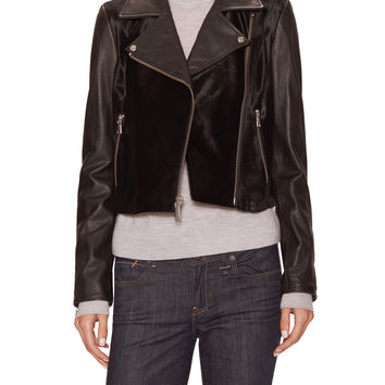Andrew Marc x Richard Chai Women's Haley Leather Biker Jacket - Black