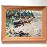 Paint By Number Fishing Painting - Vintage Framed Painting - Fishing - PBN Color By Number