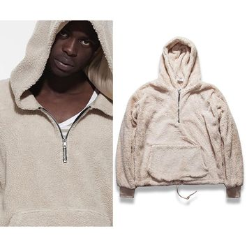 ca qiyif Half Zipper Pullover Fleece Urban Style