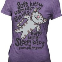 Big Bang Theory Soft Kitty Junior T-Shirt Tee Heathered Purple (XL)