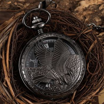Antique Large Eagle Hand Wind Mechanical Pocket Watch Men Black Steampunk Retro Fob Watch Necklace With Chain Pendant Gift