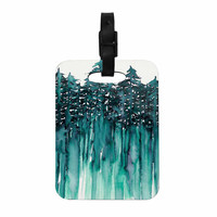 "Ebi Emporium ""Forest Through The Trees 5"" Teal White Decorative Luggage Tag"