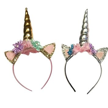 Lovely Unicorn Horn Head Party Hair Headband Dress Cosplay Costume (Color: Silver)