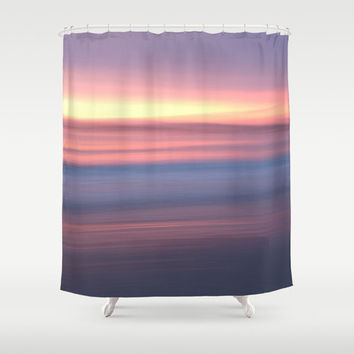 Sunrise photo shower curtain, lilac pastel purple sunset decor, decorative shower curtain  bathroom art,