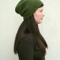 Green Slouchy hat, Woman's Olive hat, unisex hat, Crochet hat in Military green, gift for her, Christmas, Holiday Gift, Made to order