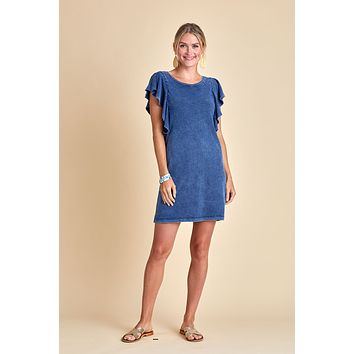 Z Supply Indigo Ruffle Sleeve Dress