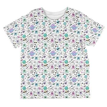 PEAPGQ9 Outer Space Aliens Pattern All Over Toddler T Shirt