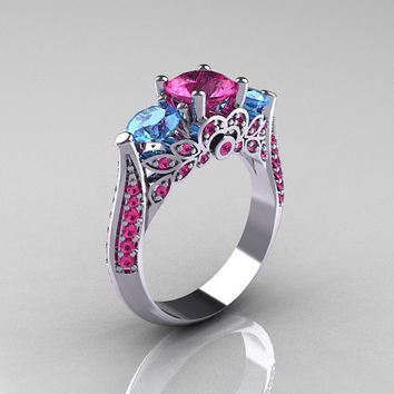 Classic 18K White Gold Three Stone Blue Topaz Pink Sapphire Solitaire Ring R200-18KWGBTPS
