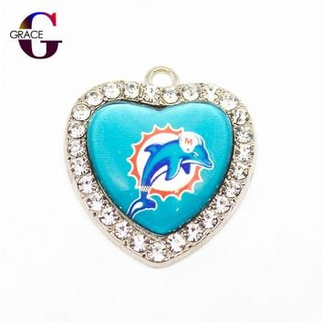Miami Dolphins Football Team Crystal Glass Heart Sports Hanging Dangle Charms For DIY Women Bracelet Necklace Jewelry Accessory