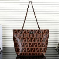 Fendi Fashion New More Letter Print Leather Women Handbag Shoulder Bag Brown