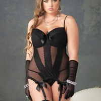 Plus Size Lingerie | Plus Size Mesh Camisole With Garters | Hips & Curves