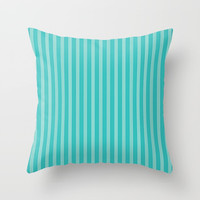 Bright Aqua and Turquoise Stripes Throw Pillow by Sheila Wenzel