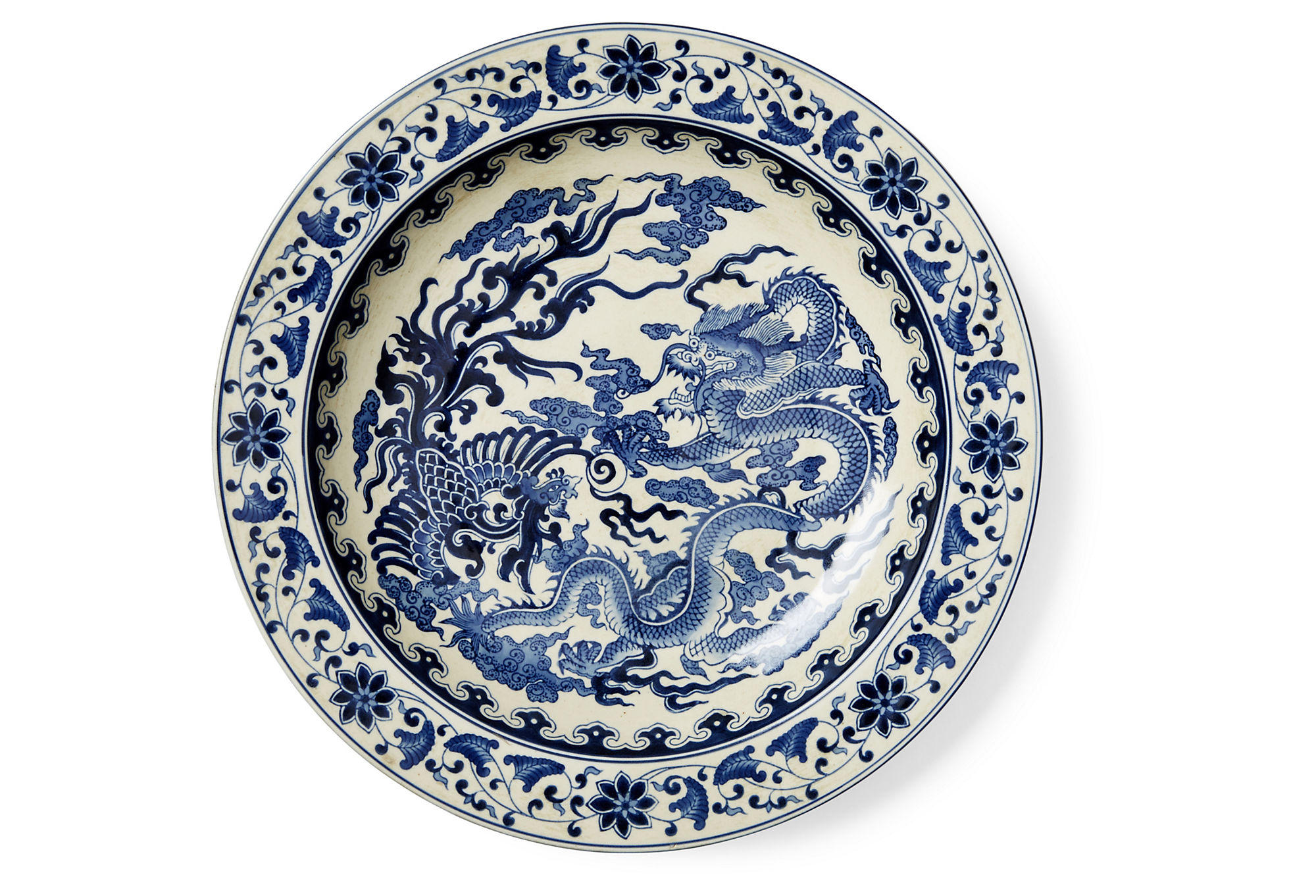 Quot dragon plate blue white decorative from one kings lane