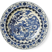"16"" Dragon Plate, Blue/White, Decorative Plates"
