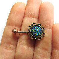 Blue Druzy Geode Stone Rock Flower Rose Daisy Belly Button Ring Navel Piercing Bronze Stud Glitter Bar Barbell
