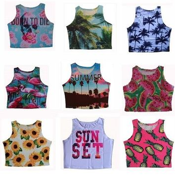 2015 New summer style womens crop tops palm tree and pineapple blusa sexy tank top cropped