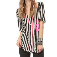 Game Over Striped Jersey Graphic Top