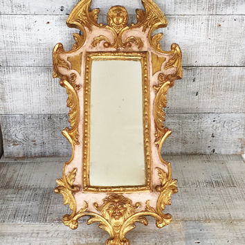 Wall Mirror Vintage Gold Mirror Ornate Wooden Mirror Vintage Carved Mirror French Country Decor Art Nouveau Angel Hanging Mirror Gift